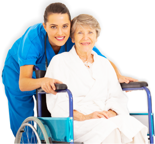 caregiver and patient in a wheelchair smiling
